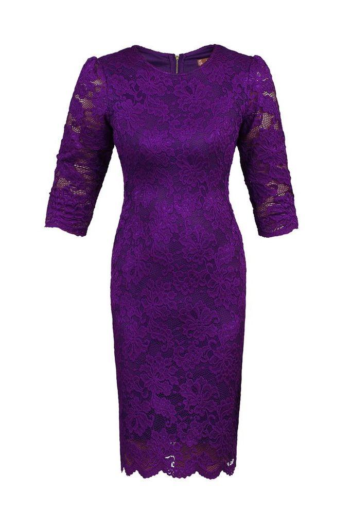 Jolie Moi Scalloped Lace Bodaycon Dress, Purple