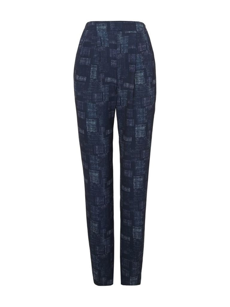VIZ-A-VIZ Square Print Trousers, Navy