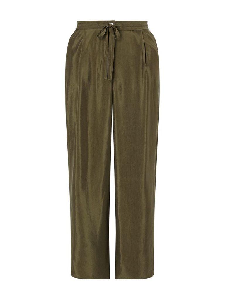 Jigsaw Curved Hem Cupro Trouser, Green