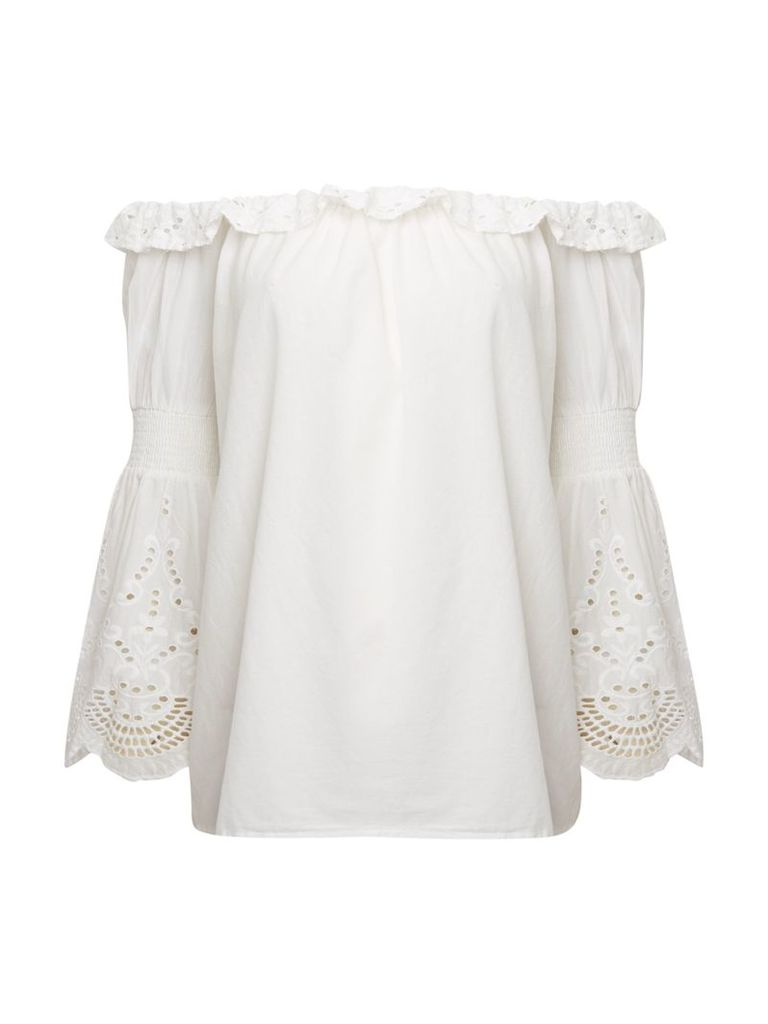 Vero Moda Bardot top with crochet sleeve detail, White