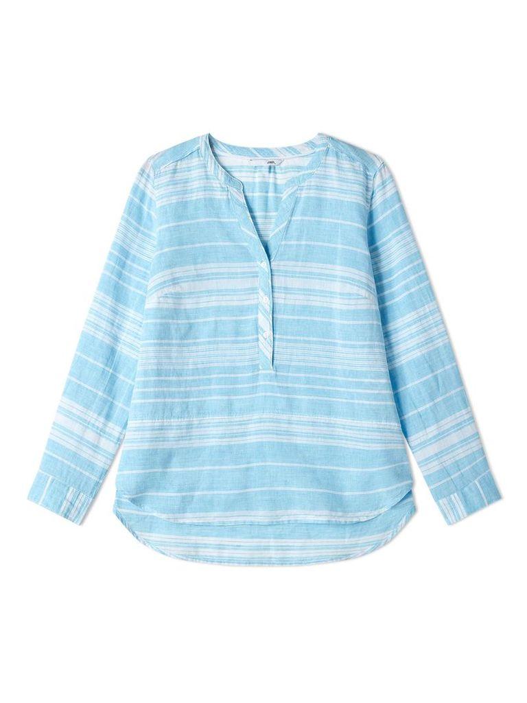 Dash Aqua Stripe Linen Blouse, Blue