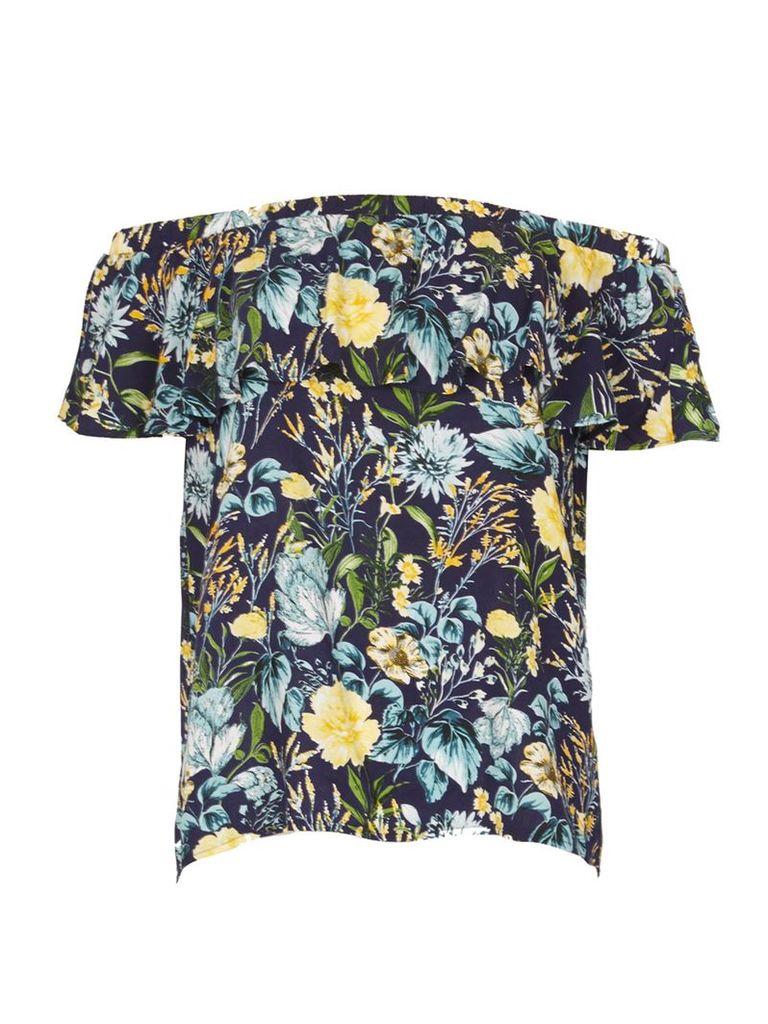 Izabel London Floral Bardot Top, Multi-Coloured
