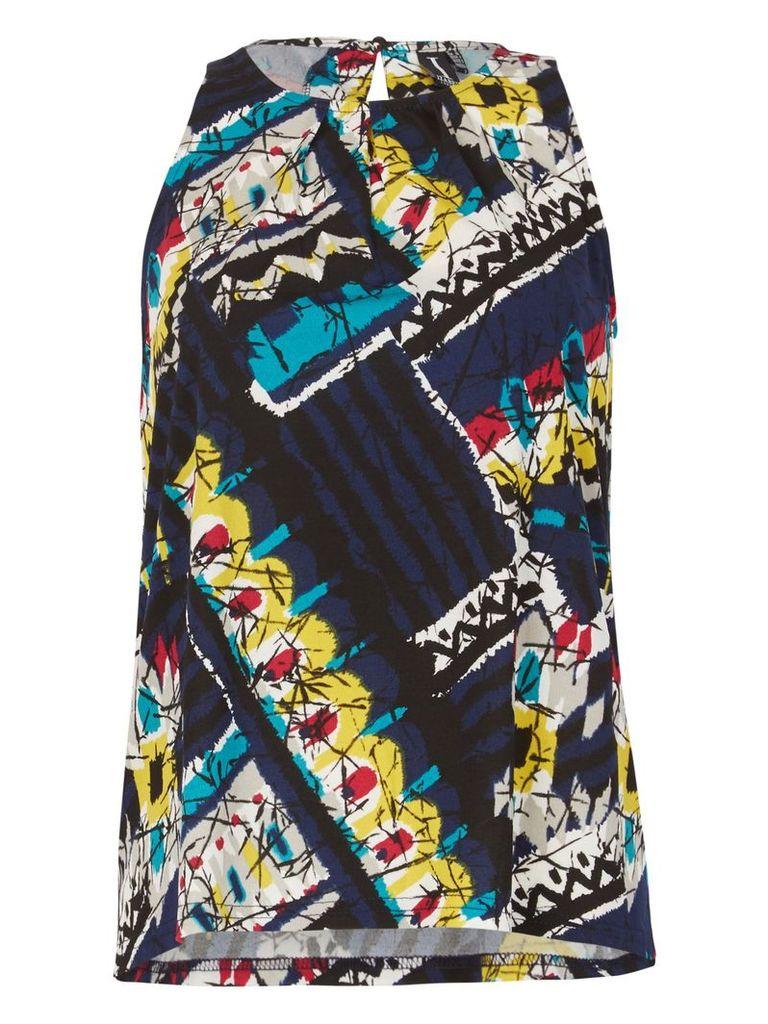 Izabel London Bold Print Sleeveless Top, Multi-Coloured