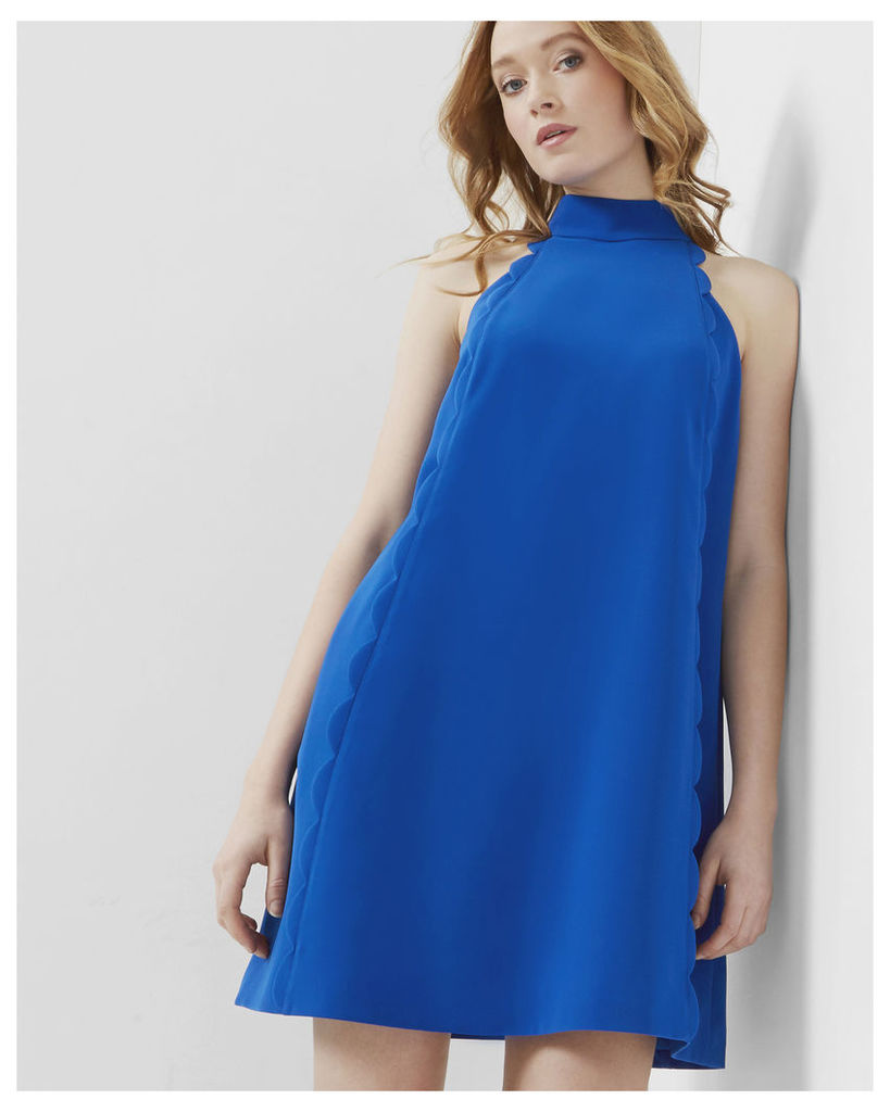 Ted Baker Halter neck scallop tunic dress Mid Blue
