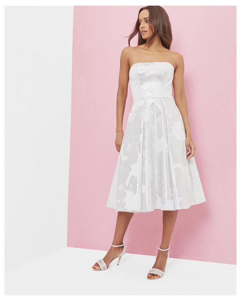 Ted Baker Baroque Blossom metallic jacquard dress White