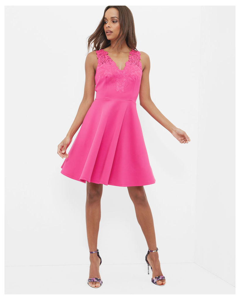 Ted Baker Embroidered lace skater dress Fuchsia