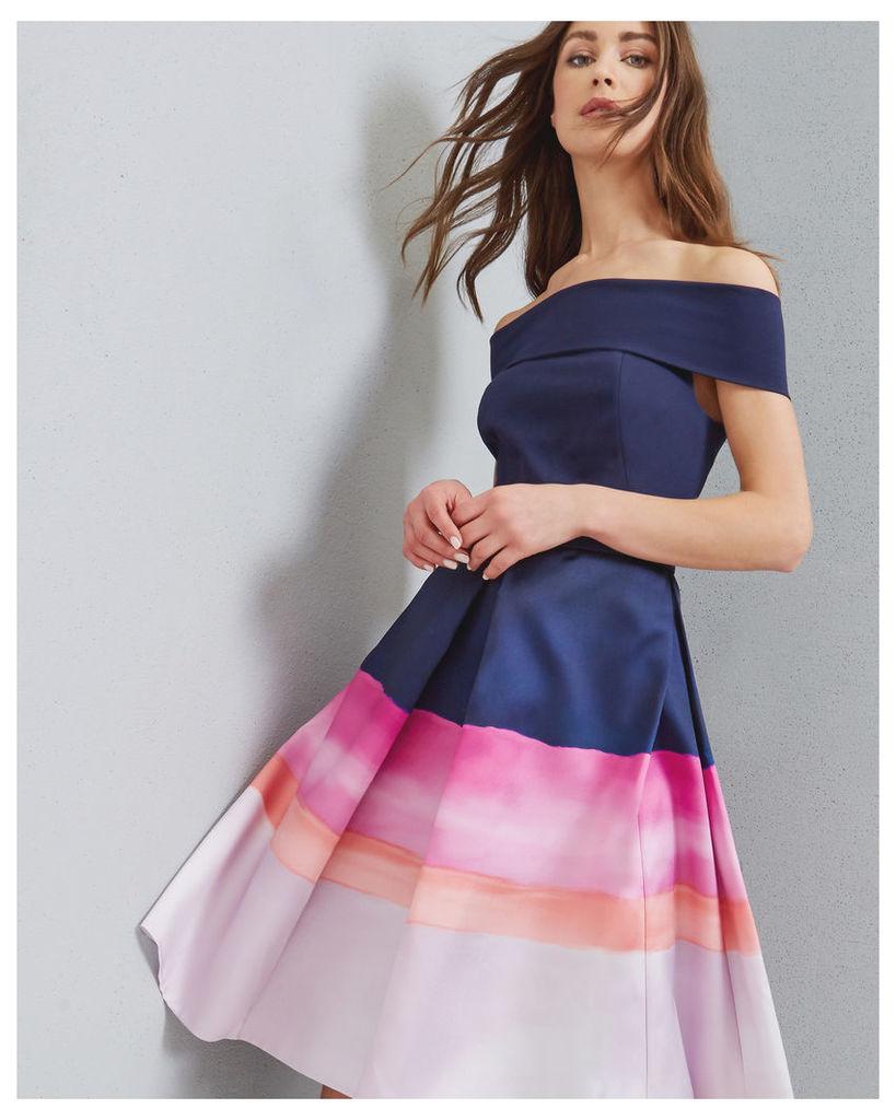 Ted Baker Marina Mosaic Bardot dress Navy
