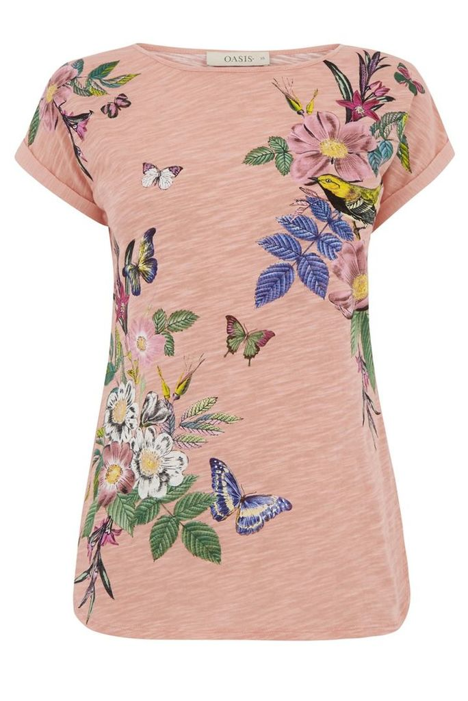 Oasis Lucy All Over Placement Tee, Coral