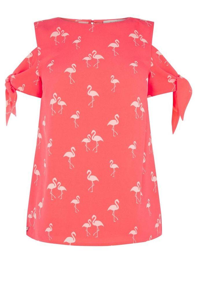 Oasis Flamingo Tie Sleeve Top, Red