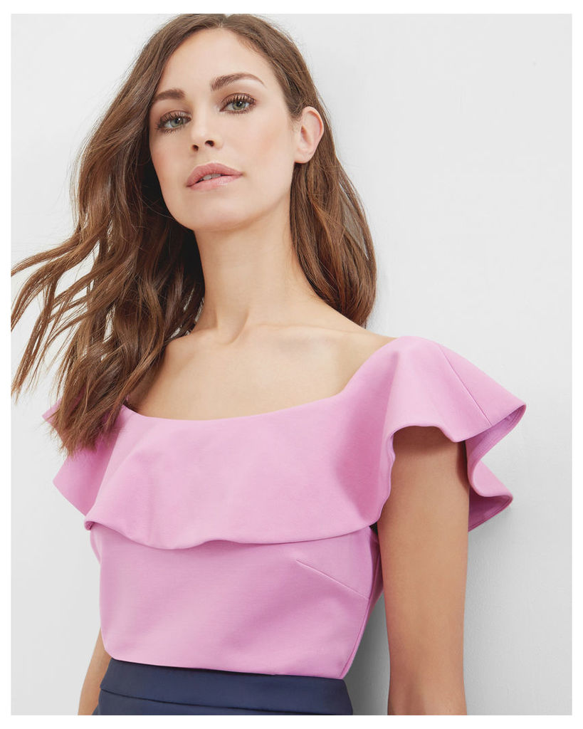 Ted Baker Frill detail Bardot top Pale Pink