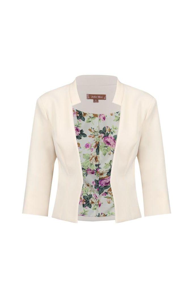 Jolie Moi Floral Print Lined Open Front Blazer, Beige