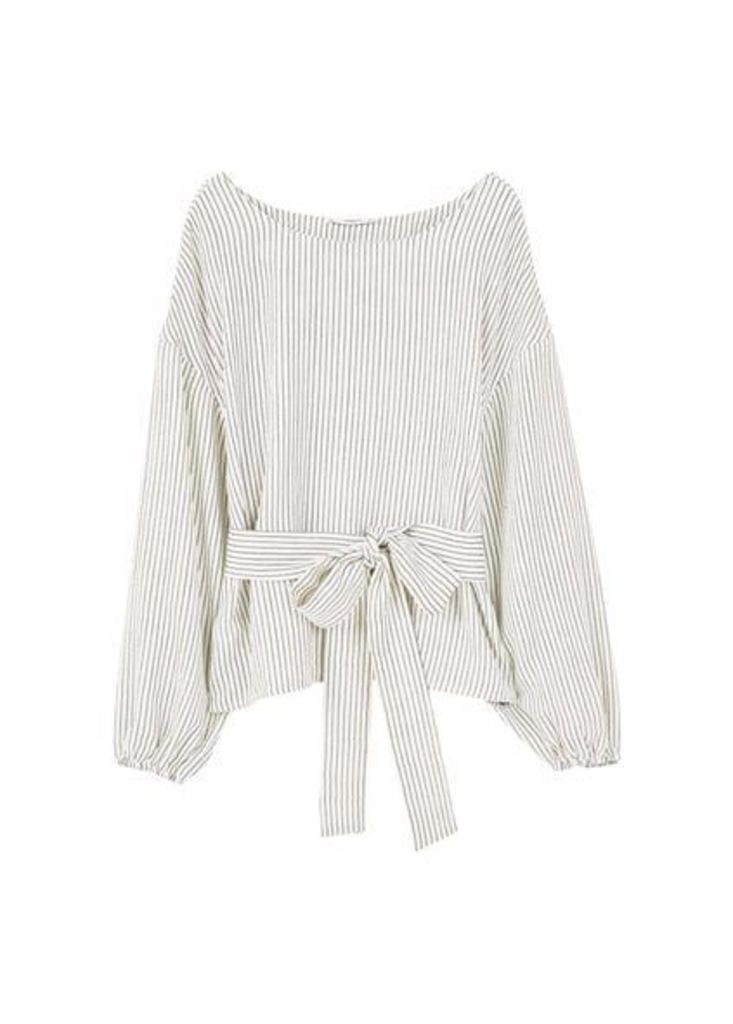 Belt striped blouse