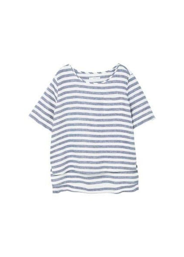 Linen-blend striped blouse