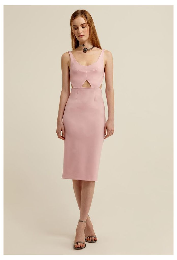 Lute Cut-Out Knee Length Dress - Chalk Pink