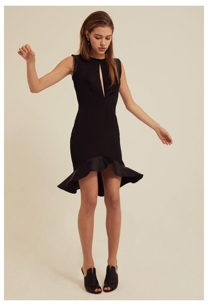 Pierre Frill Hem Mini Dress - Black