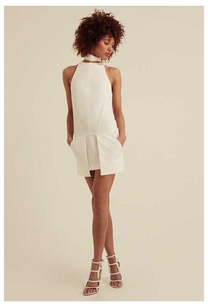Bella Choker Detail Mini Dress - White