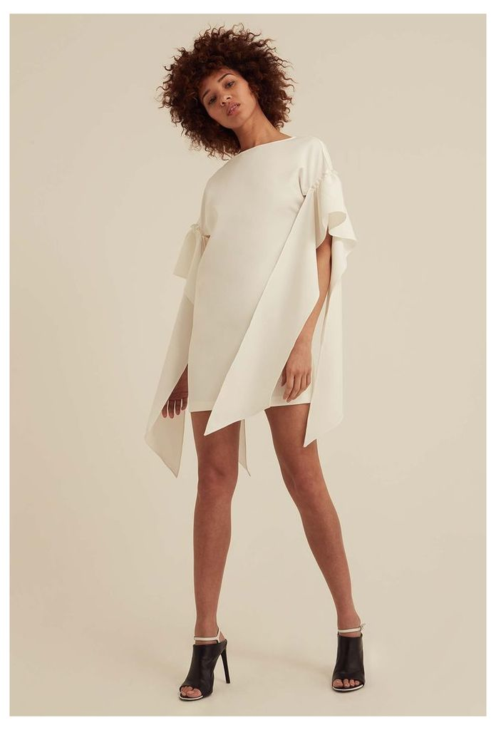Rosalie Tie Sleeve Mini Dress - White