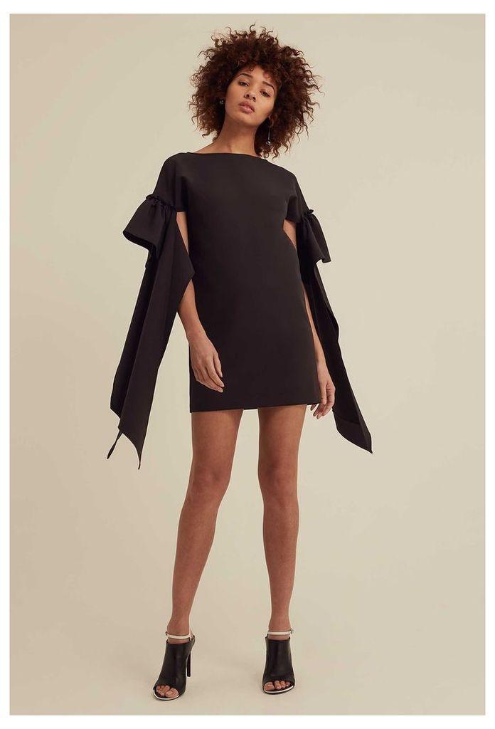 Rosalie Tie Sleeve Mini Dress - Black