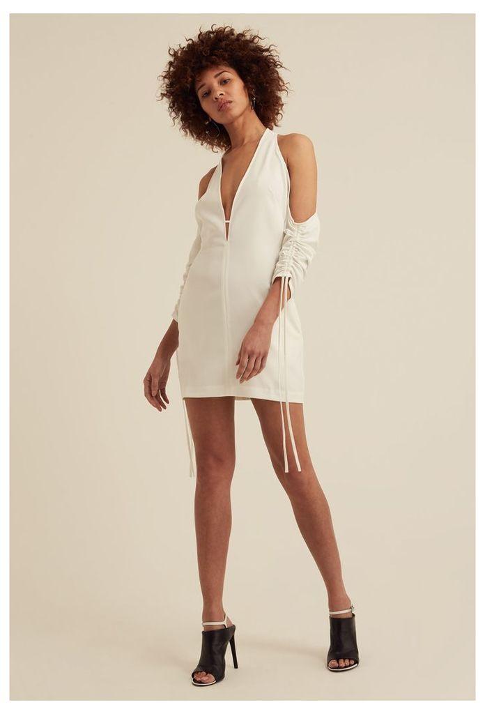 Oleena Cold Shoulder Mini Dress - White