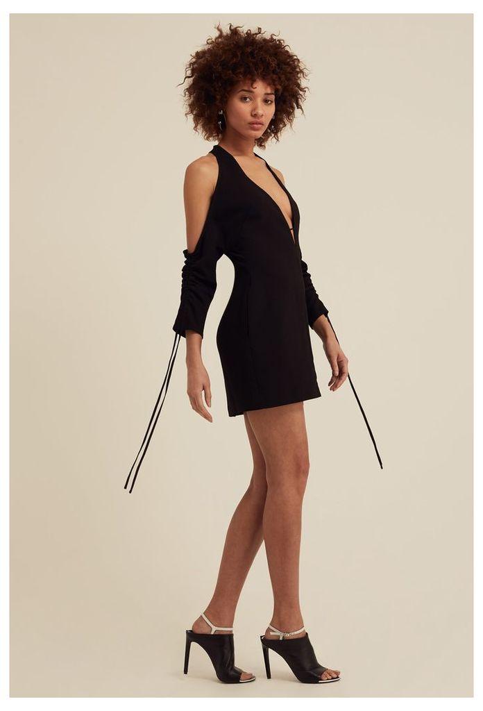 Oleena Cold Shoulder Mini Dress - Black