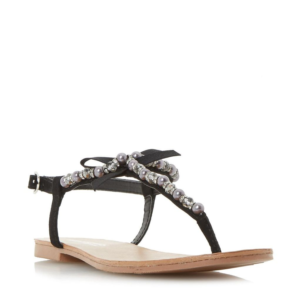 Leonia Pearl Trim T-Bar Flat Sandal