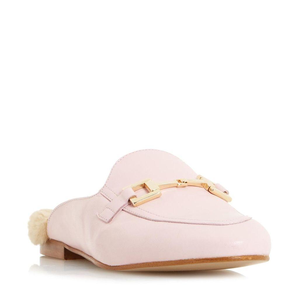 Gole Metal Saddle Trim Backless Loafer Shoe