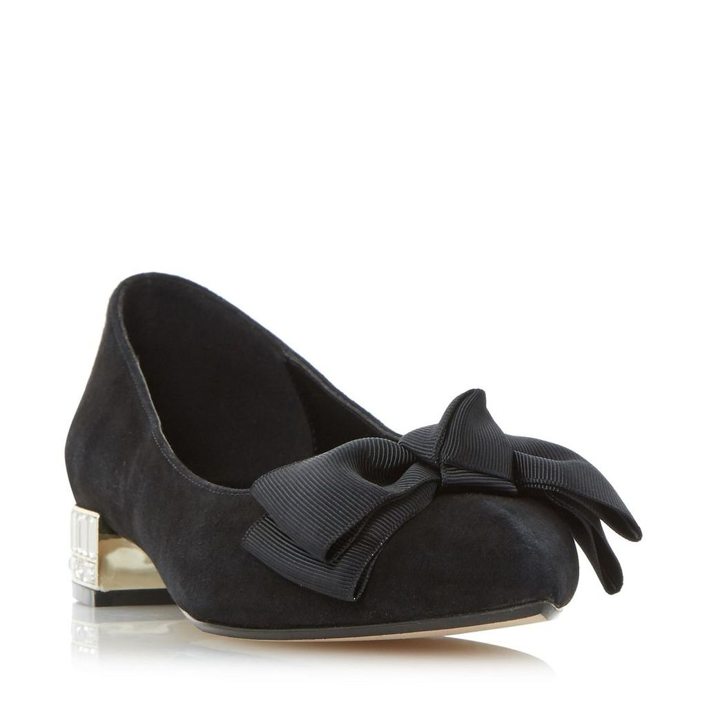Bow Bela Jewelled Heel Grosgrain Bow Detail Flat Shoe