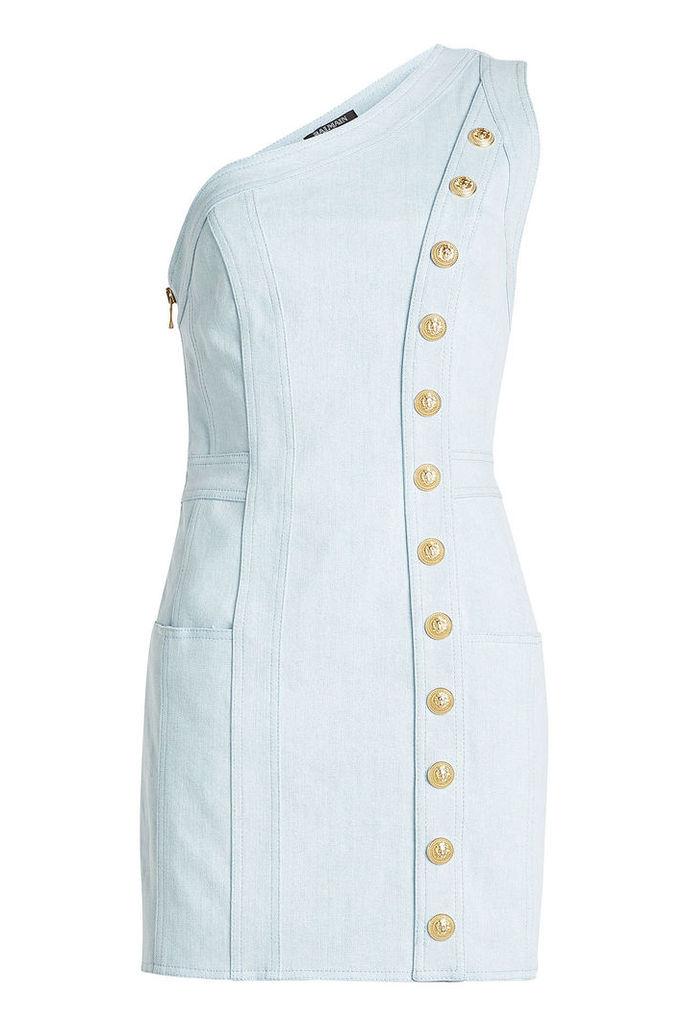 Balmain Asymmetric Denim Dress