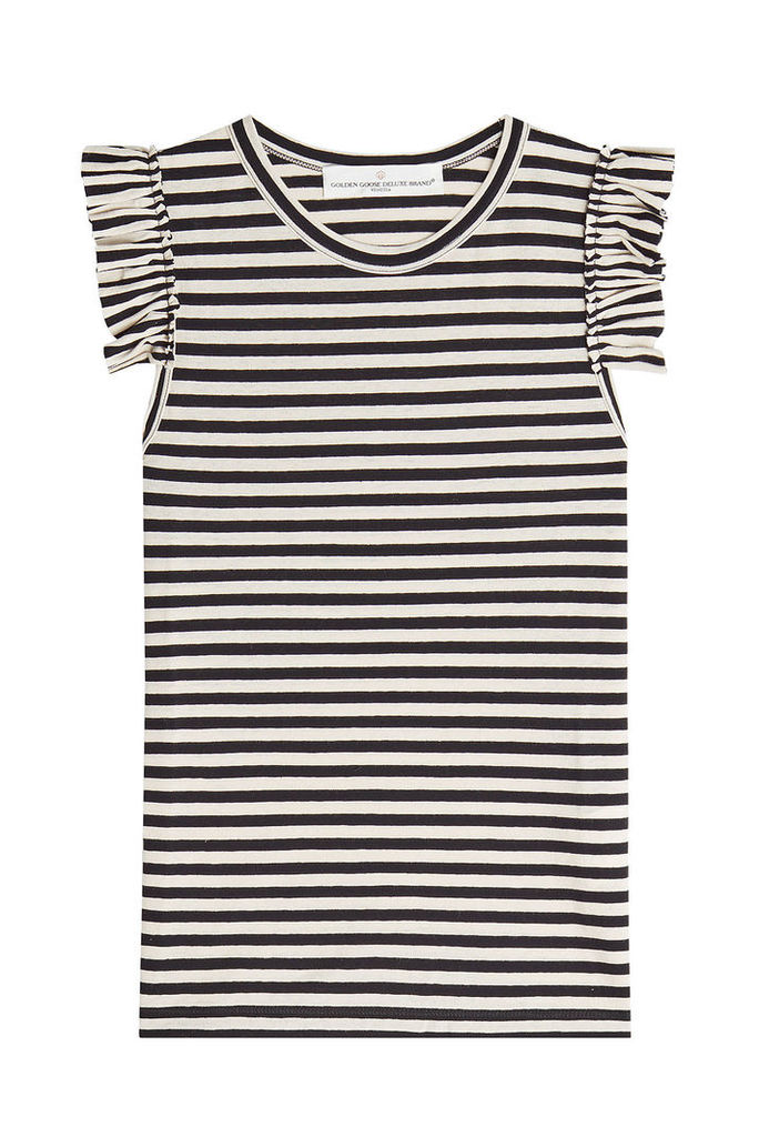 Golden Goose Striped Sleeveless Top with Ruffles