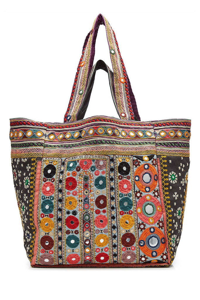 Star Mela Embroidered Tote with Mirrored Detail