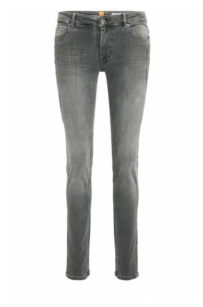 Slim-fit washed and distressed jeans in super-stretch denim