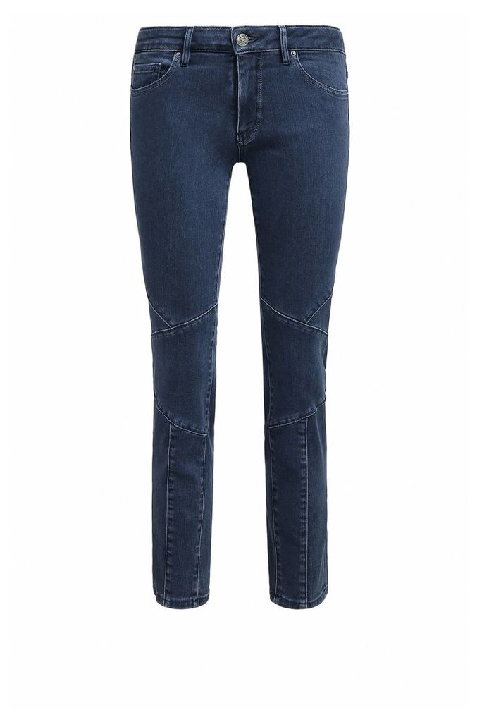 Cropped slim-fit power-stretch denim jeans in biker design