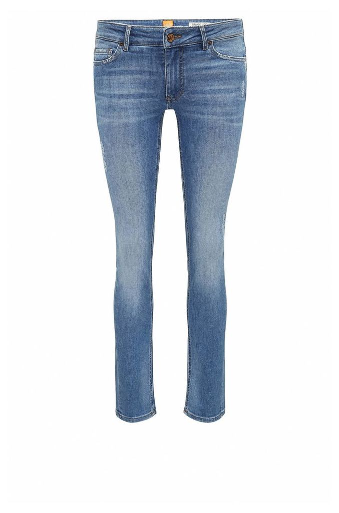 Slim-fit comfort-stretch denim jeans with destroyed effects