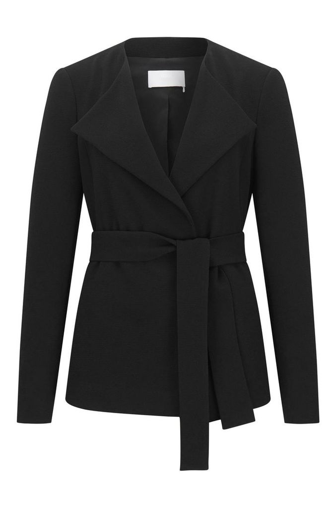 Relaxed-fit blazer in crepe fabric with belt detail