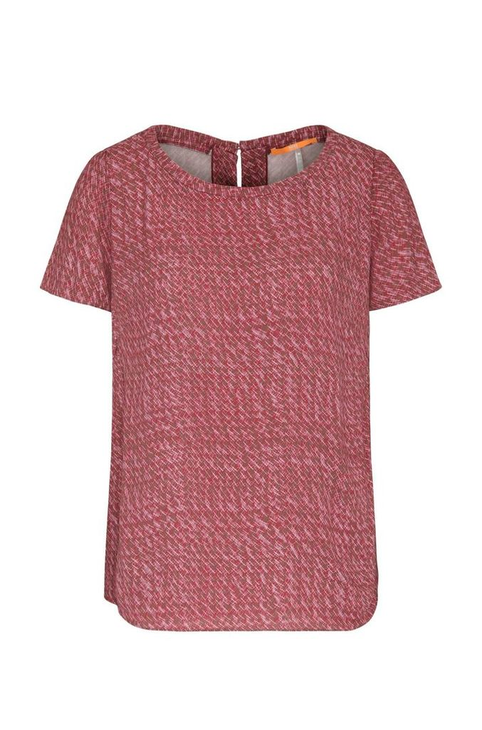 Top in material blend with graphic print: `Kaspla`