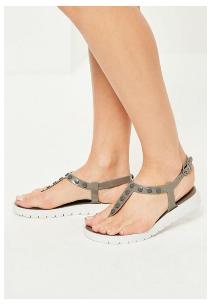 Grey Contrast Sole Studded T-Bar Sandals, beige
