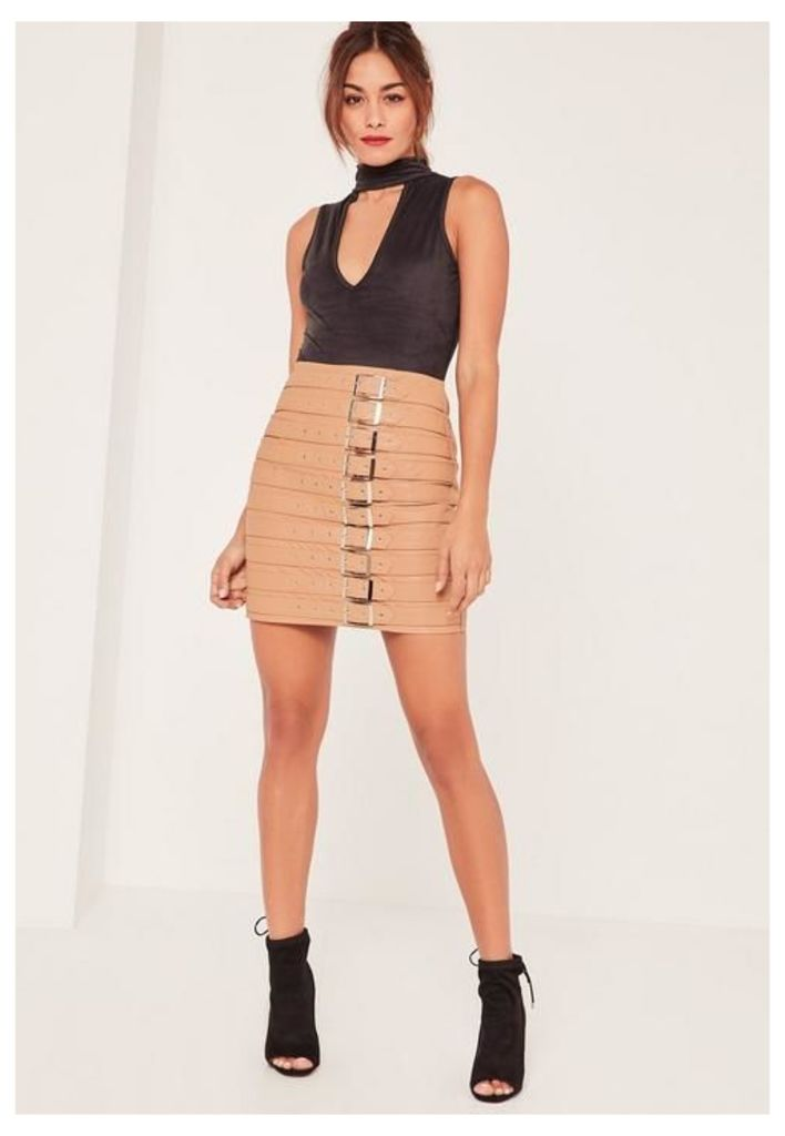 Nude Faux Leather Buckle Detail Mini Skirt, Beige