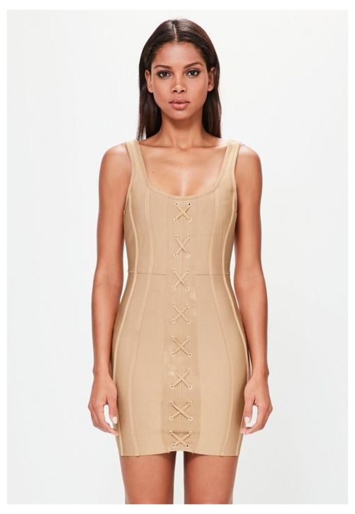 Camel Strappy Criss Cross Front Bandage Dress, Beige