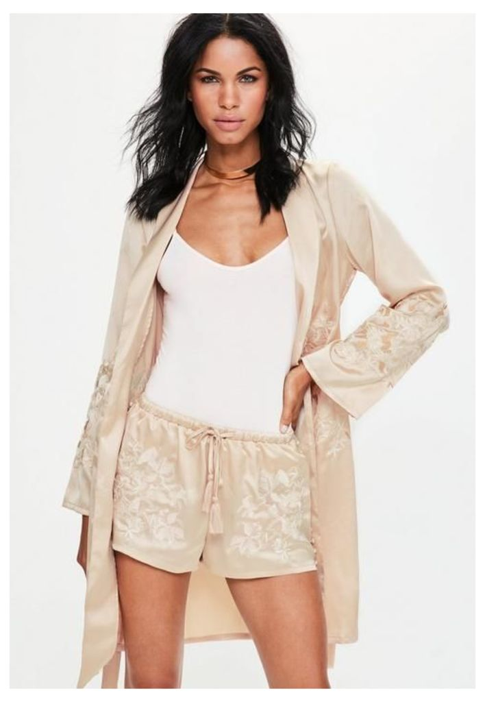 Nude Satin Embroidered Button Side Shorts, Cream