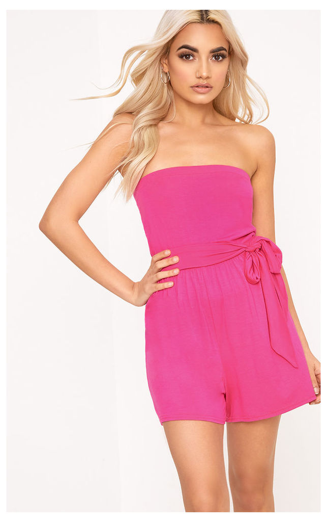 Jersey Pink Bandeau Playsuit, Pink