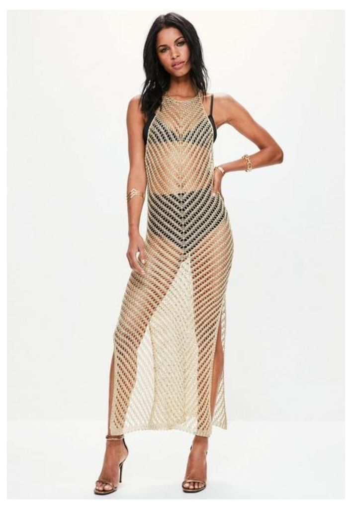 Gold Halter Neck Knitted Maxi Dress, Gold