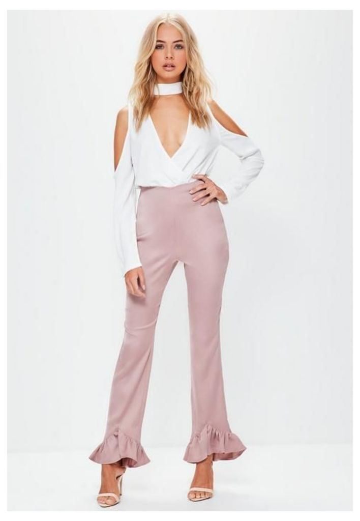 Pink Satin Back Crepe Pointed Frill Hem Trousers, Beige