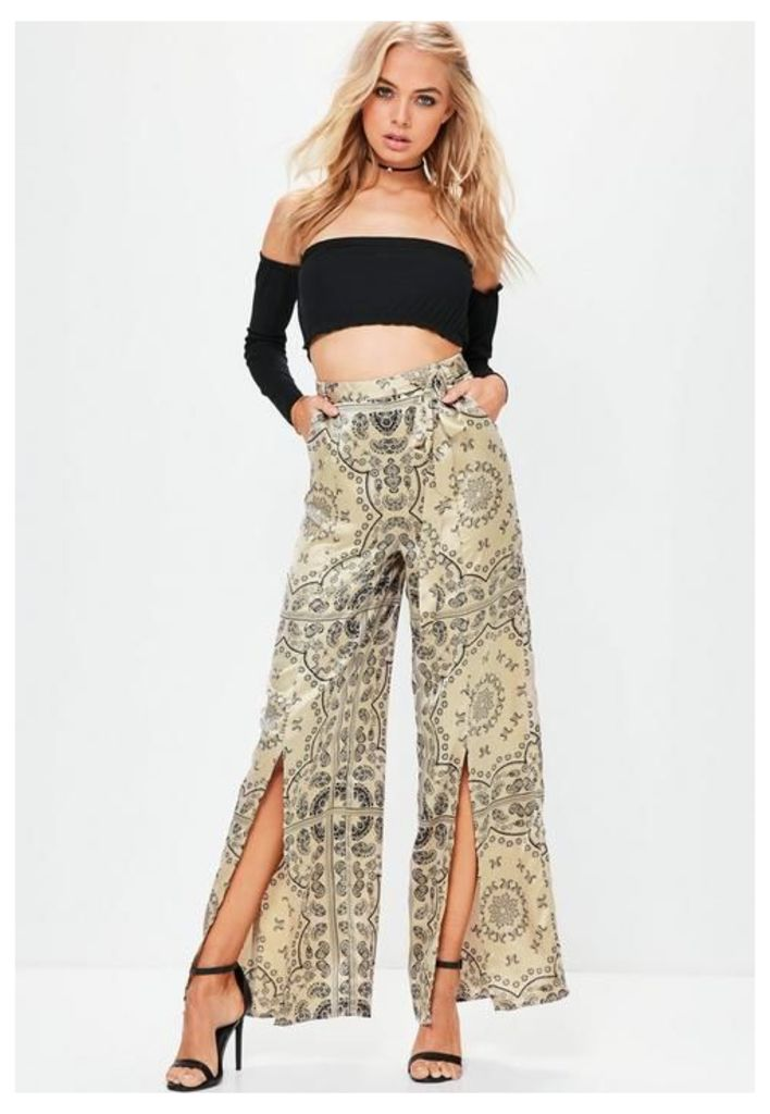 Gold Paisley Split Front Wide Leg Trousers, Gold