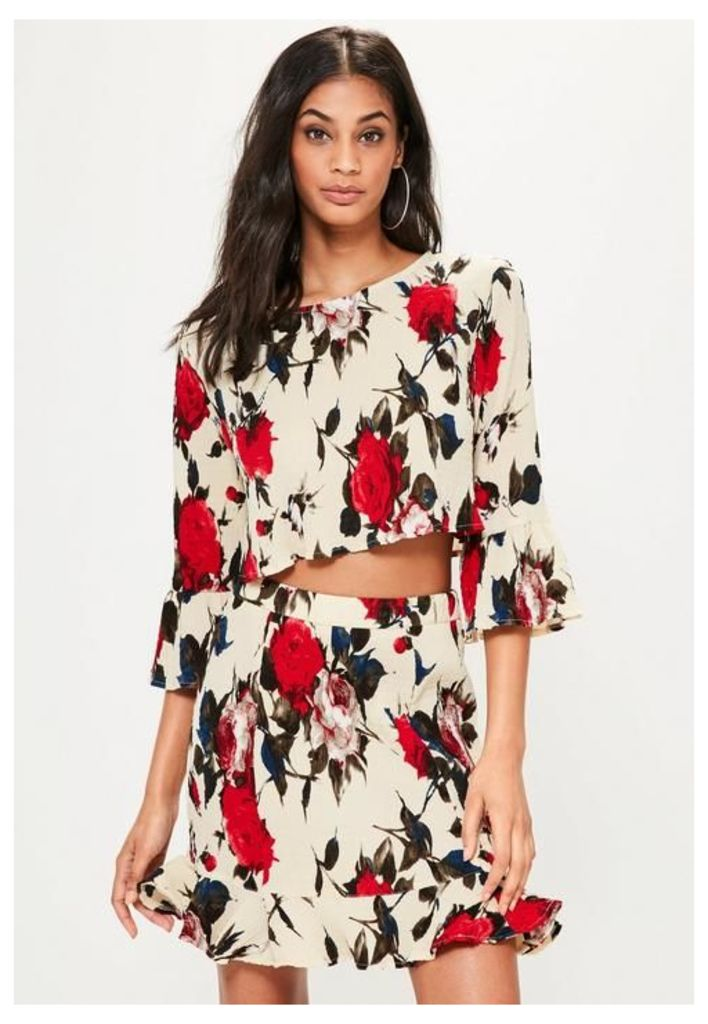 Cream Frill Sleeve Rose Print Crinkle Blouse, Red