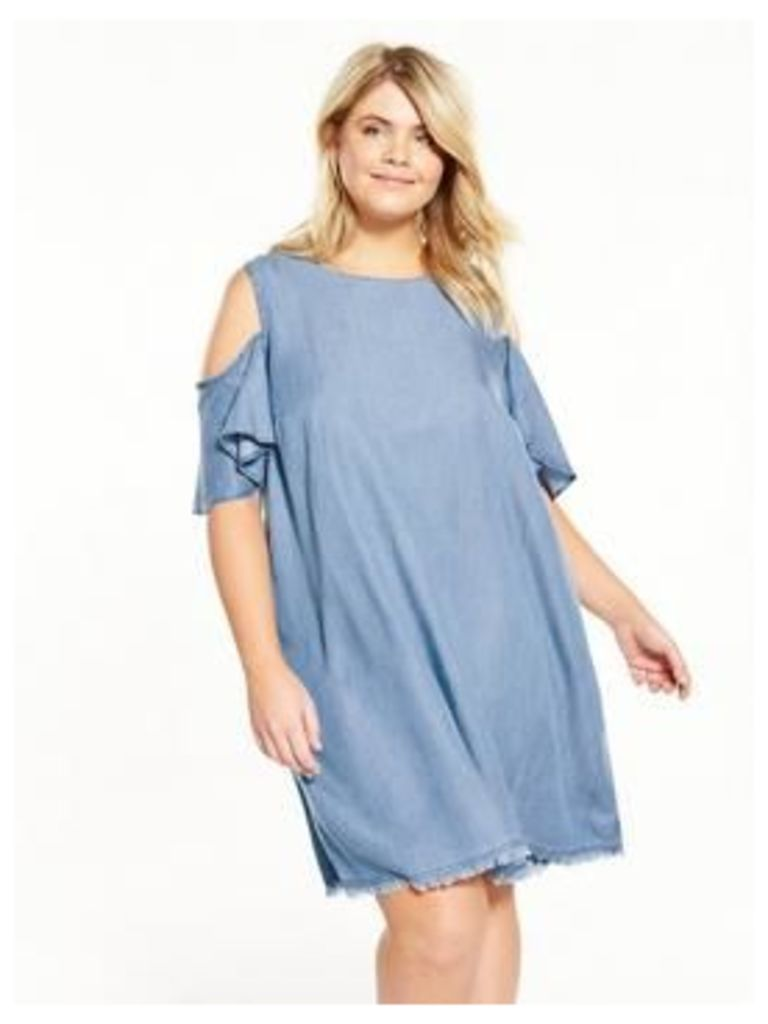 V By Very Curve Cold Shoulder Chambray Swing Dress