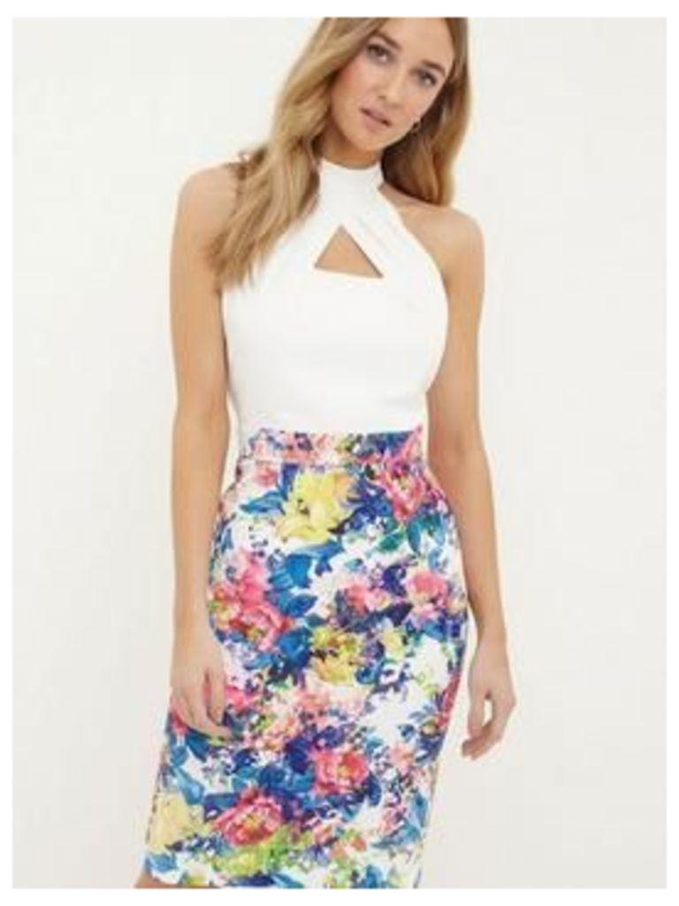 Paper Dolls Halter Printed Detail Skirt Dress