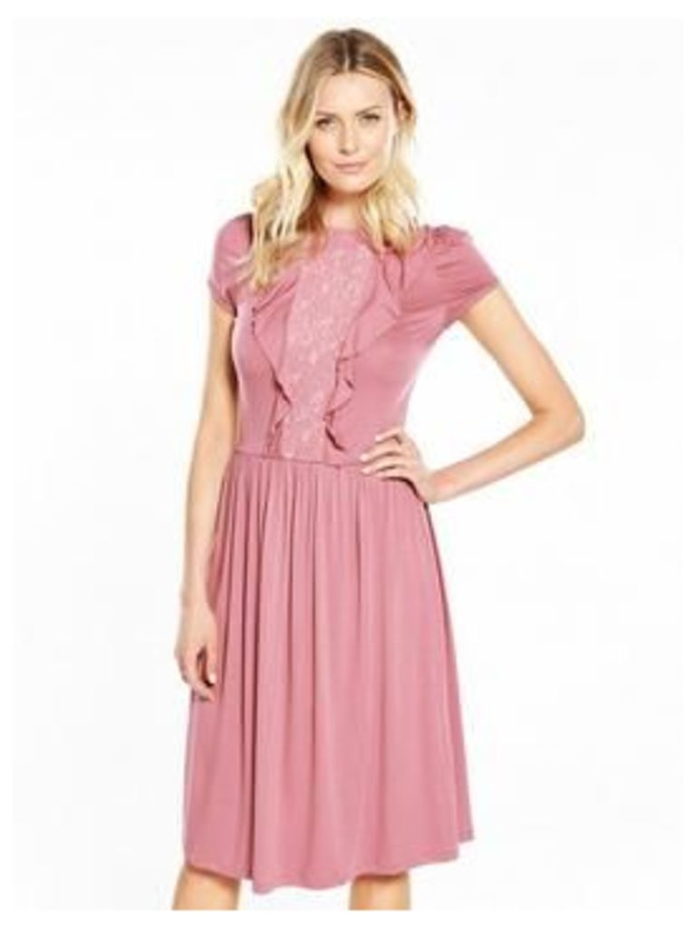 V By Very Lace Ruffle Front Midi Dress
