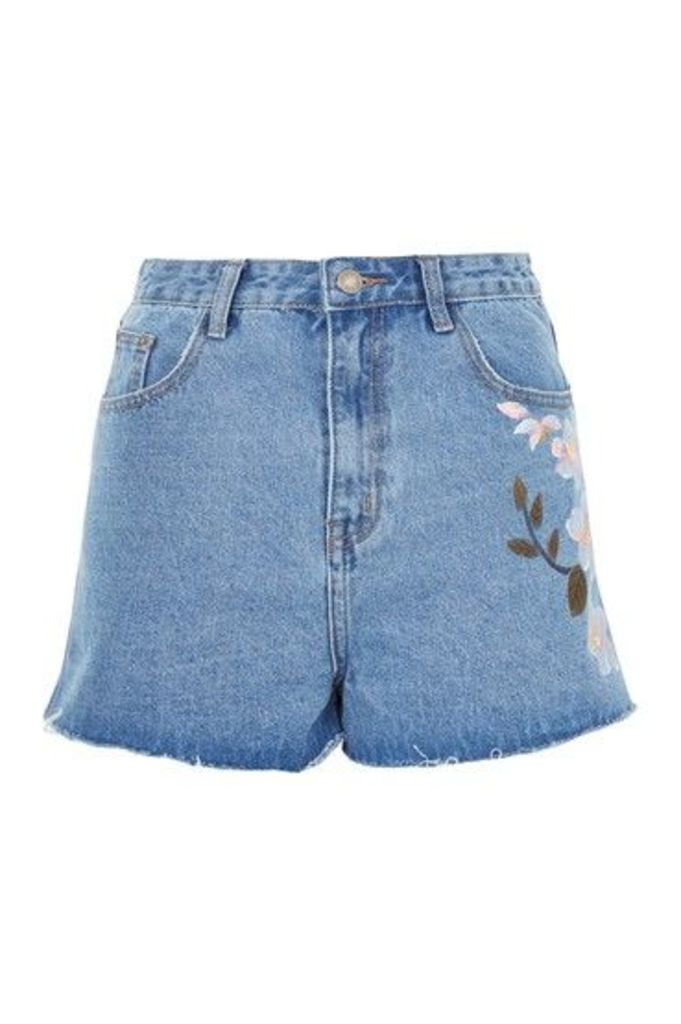 Womens **Floral Painted Denim Shorts by Glamorous - Blue, Blue