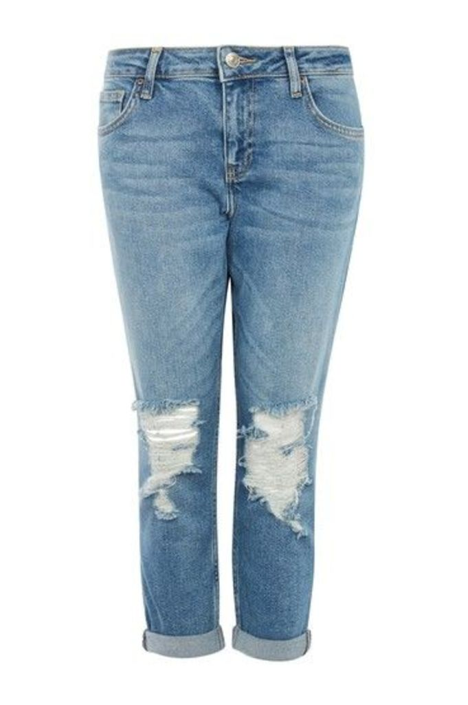 Womens PETITE Ripped Lucas Jeans - Mid Stone, Mid Stone