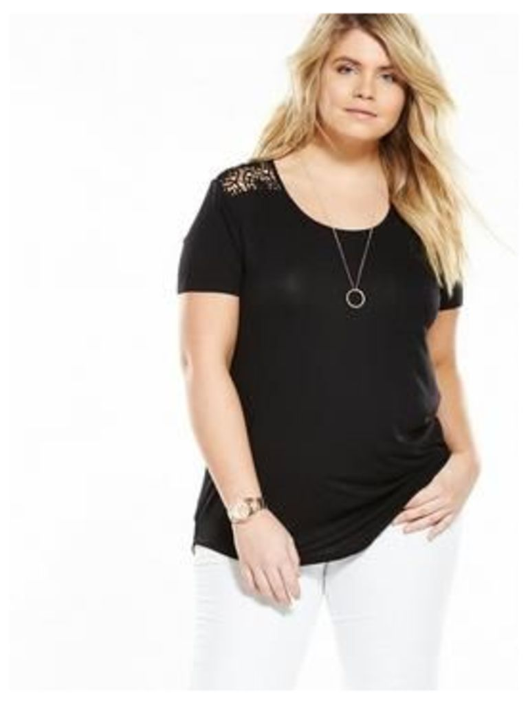V By Very Curve Lace Sleeve And Yolk Jersey Top